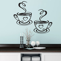 Duplo Coffee Cups Wall Stickers On The Kitchen Vinyl Art Decalques Adhesive Wallpapper quarto decoração Home Decor