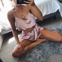 Women Satin Pajamas Sexy Sleepwear Sleevless Top Shorts Cute...