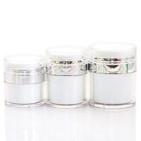 15 30 50G perle blanche acrylique sans air pot Jar Jar avec collier en argent 15 30 50ML cosmétique sous vide bouteille de pompe à lotion vide