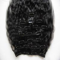 10 stücke 120g Verworrene Gerade Clip Ins Menschliches Haar Extensions Peruanische Remy Haar 100% Menschliches Natürliches Haar Grob Yaki Clip Ins Natürliche Schwarz