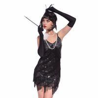 المرأة 1920 ثانية غاتسبي الزعنفة زي خمر السباغيتي حزام الخامس الرقبة لامعة الترتر هامش الزعنفة اللباس كوكتيل حزب اللباس اللاتينية