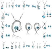 Set di gioielli da damigella d'onore Orecchini da sposa di Swarovski Set di gioielli di cristallo d'argento Collana lunga di gioielli indiani africani