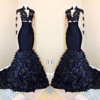 Chegada Nova sereia mangas compridas Prom Dresses 2020 preto meninas Africano alta Neck vestidos de noite Com Camadas Ruffle Saias BA8173