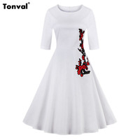 Tonval Summer Women Half Sleeve Embroidery Dress 2017 Retro ...
