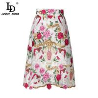 Ld linda della 2018 mode runway röcke frauen hohe taille elegante vintage spitze blumen stickerei beiläufige rock femme