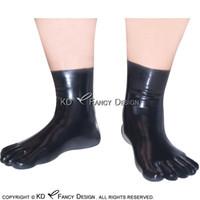 أسود تشريحي مثير قصيرة اللاتكس خمسة أصابع القدم جوارب المطاط جوارب زائد الحجم 0006