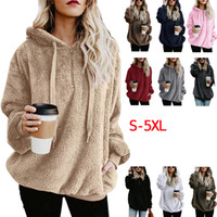 Women Sherpa Hoodie Pullover Sweatshirts Winter Half Zipper ...