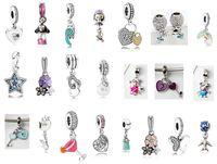 Venda quente Melhor Qualidade de Prata 50 pcs Mix Pandora Encantos Europeus Beads Pingente Dangle Fit Cobra cadeia de segurança DIY Charm Bracelet Jóias