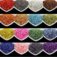 Multi color plata forrado Bugle Czech Glass semillas espaciador cuentas 1000pcs / lot Austria Crystal largo perlas para hacer la joyería DIY