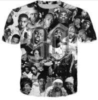 All'ingrosso-Novità Moda Uomo / Donna Estate Stile Rapper 2pac Tupac / Biggie Smalls Divertente 3D Stampa Casual T-Shirt DXR0046