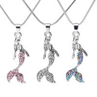 Океан Queen Crystal Mermaid Ожерелье Хрусталь Кулон Ожерелья для Женщин Девушки Мода Ювелирные Изделия Подарки