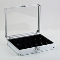 OUTAD Profissional 12 Grades Caixa de Relógio de Exibição de Jóias Quadrado Caso De Camurça De Alumínio Em Recanto Dentro do Relógio de Presente Caso