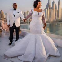 Robes de mariée taille plus africaine Paillettes Dentelle Appliques Illusion Manches longues Robe de mariée sirène Sheer Back Sexy Robes de mariée de luxe