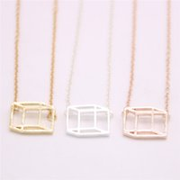 Двухмерный куб кулон ожерелье выдалбливают куб кулон ожерелье предназначен для женщин розничной и оптовой смеси