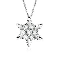 Charm Vintage Crystal Snowflake Pendant Necklaces For Women ...