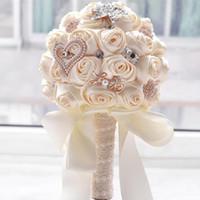 Impressionantes flores do casamento Branco Buquets de dama de honra nupcial artificial Rosa Rose Buquê Casamento Supplies Buque De Noiva