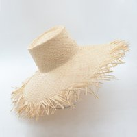 Muchique Kova Şapka Yaz Güneş Şapka Kadınlar için Yıpranmış Kenar Raffia Straw Plaj Sıcak Moda Disket Şapkalar