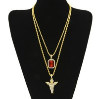 Mens Iced Out Ruby Necklace Set Brand Micro Ruby, Angel, Jes...