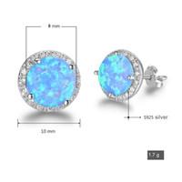 100% sterling zilveren oorring 8 mm ronde vorm blauwe vuur opaal steen eenvoudige ontwerpen sieraden met rugstoppers groothandel