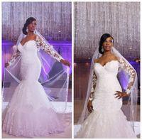 Africano off-ombro mangas compridas laço fishtail saia apliques rendas costume feita sereia vestidos de casamento barato plus tamanho vestido nupcial