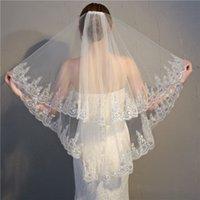 Breve veli Bella dita Tulle Tulle Bordo del merletto Veil di nozze perline avorio bianco su misura 2 strati Ragazze Bridal Veil