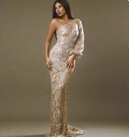 263a447430e Robe de soirée Yousef aljasmi Kim kardashian Robe longue à manches longues  Cristal perlé Une épaule