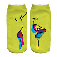 1pair 3D Funny Kiss Printed Short socks Women Men Low Cut Ankle Yellow Coon Casual Character Sock  New