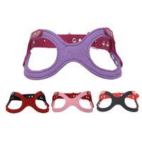 Sıcak Satış moda gözlük modelleme Pet sapanlar yumuşak mikrofiber deri köpek koşum pet göğüs kemeri T3I0296
