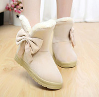 new sweet woman boot winter solid color snow boots plush lad...