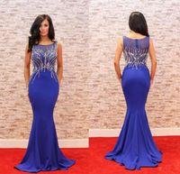 Azul marinho elegante Vestido Longo 2018 Jewel frisada Magro Dinner Dress Mermaid Mulheres Pageant Vestido Para formal do partido do baile de finalistas