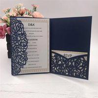 Invitaciones de boda de bolsillo de corte láser azul marino 2019 Invitaciones personalizables con sobre Accesorio de boda En blanco Interior personalizado