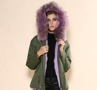 MEIFENG marka Lavanta kürk trim kadınlar parkas Lavanta tavşan kürk astar ordu yeşil mini parkas bayanlar tavşan kürk kanvas ceketler