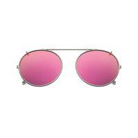 Clip polarizado redondo en gafas de sol Unisex Pink Coating Mirror Gafas de sol Driving Metal Oval Shade Clip en gafas uv400