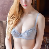 Sexy super thin lace transparent sex appeal bra mesh embroid...