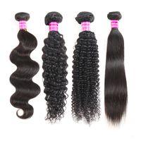 Бразильские прямые девственные пучки человеческих волос Перуанская глубокая волна Волнистые вьющиеся волосы Remy Наращивание влажных и волнистых человеческих волос