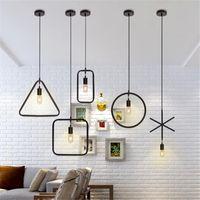 الحديثة أدى قلادة مصباح شكل هندسية شكل الحديد E27 حامل مصباح 90-260 فولت مقهى بار برود غرفة الطعام الإضاءة الداخلية