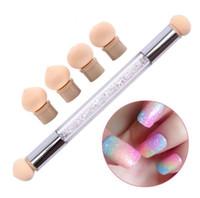 1Sets Glitter Powder Picking Dotting Gradient Pen Brush + 6 Инструмент для наращивания ногтей для губ с двойным акриловым акриловым гелем