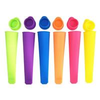 Yeni Renkli Silikon Buz Pop Kalıp Kapaklı Popsicles Kalıp DIY Dondurma Makineleri Popsicle Için Dondurma Jöle Lolly Pop Up Push Up