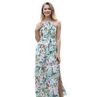 Yaz Uzun Maxi Elbise Kadın Halter Boyun Çiçek Spilit Şifon EUR ABD Sıcak Stil Boho Elbiseler
