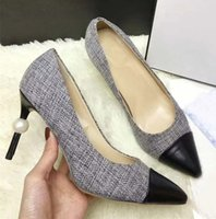 Classic Women Pointed Toe Leather Pumps Female Tweed Fabric ...