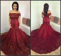 Bateau Neck Appliques Tulle Satin 다크 그린 플러스 사이즈 이브닝 가운 사우디 아라비아 댄스 파티 드레스 Dark Red Mermaid Shoulder Evening Dresses