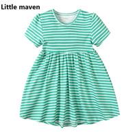 2017 Little Maven Mädchen Kleid Für 1-6 Jahre Kinder 100% Baumwolle Grün Streifen Sommer Casual Kleider Kinderkleidung KF210