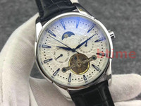 2018 Mens mecánico Moda Tourbillon Relojes de acero inoxidable reloj automático del movimiento deportivo de cuero mismo-viento de pulsera
