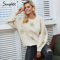 Simplee Fashion O neck drop sleeve women sweater Snowflake e...