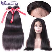 Beaudiva peruvain capelli lisci con chiusura 360 banda frontale in pizzo con bundle 360 pizzo capelli umani vergini con capelli Bady