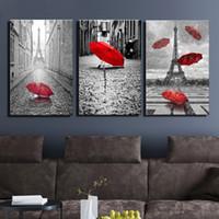 اللوحة جدار الفن برج ايفل أبيض وأسود مع الأحمر Unbrella شارع اللوحة زخرفة صورة عمل فني يطبع قماش