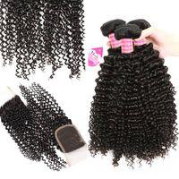 Meetu 8A Visón brasileño rizado cabello virgen 4 paquetes con cierre de encaje Buena Barato rizado rizado brasileño rizado del pelo humano paquetes con cierre