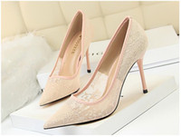 Ultra low price Wholesale Ladies wedding shoes Pink lace hig...