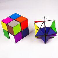 Yıldız Küpü Sihirli Fidget Küp Zeka Çeşitliliği Dekompresyon Küpü Dönüştürme Geometrik Bulmaca 2in1 Eğitici Oyuncaklar Çok Seviye Renkli