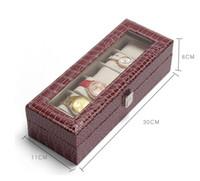 11x30x8cm PU couro relógio de exibição de jóias embalagem caso capa de vidro relógio embalagem